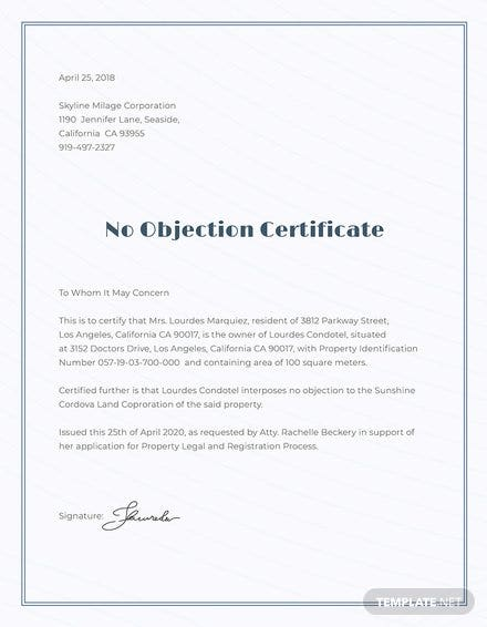 No Objection Certificate Format; No Objection Certificate Format