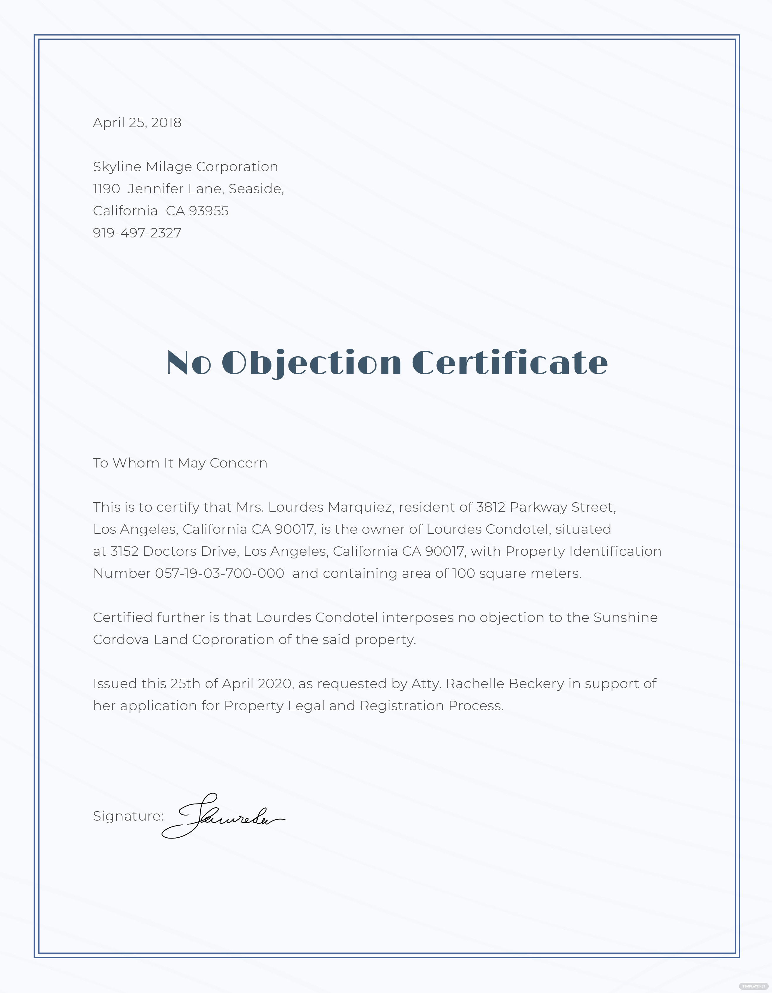 No objection certificate format template in adobe photoshop no objection certificate format template altavistaventures Images