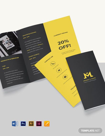 Tri-Fold Freelance Graphic Designer Brochure Template