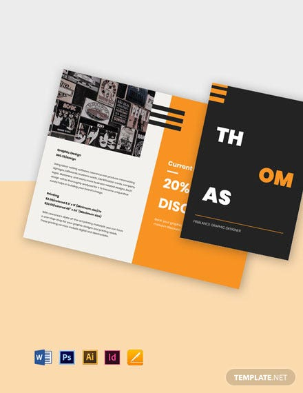 Bi-Fold Freelance Graphic Designer Brochure Template