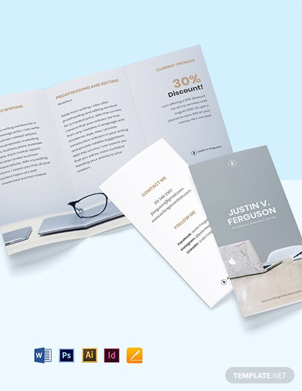 Tri-Fold Freelance Writer Brochure Template