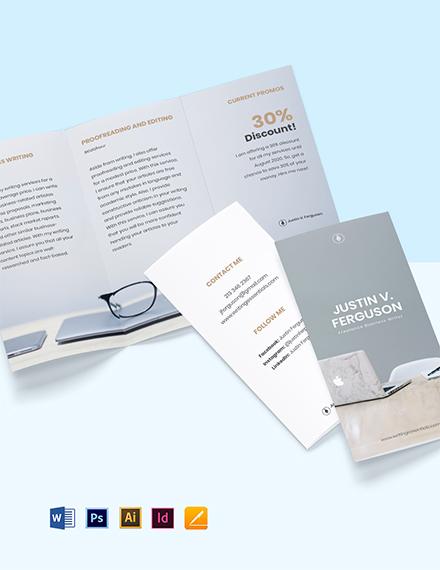 Tri-Fold Freelance Writer Brochure Template