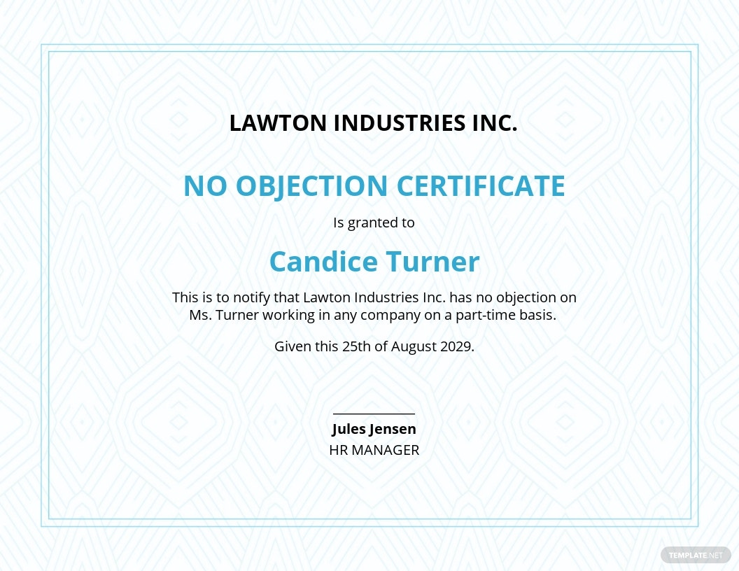 Free No Objection Certificate from Employer Template.jpe