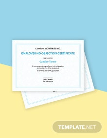 Free No Objection Certificate from Employer Template