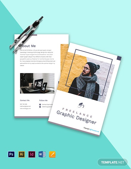 Free Modern Bi-Fold Freelancer Brochure Template