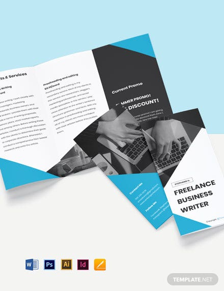 Free Simple Tri-Fold Freelancer Brochure Template