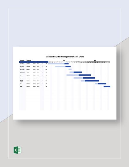 Medical Hospital Management Gantt Chart Template