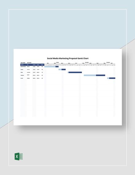 Social Media Marketing Proposal Gantt Chart Template