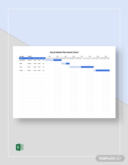 Social Media Plan Gantt Chart Template