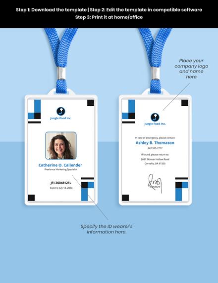 Freelance Employee ID Card Template sample