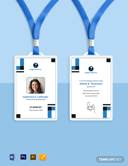Freelance Employee ID Card Template