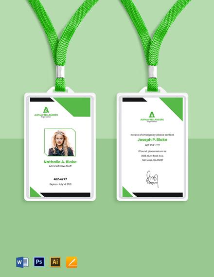 Freelance Staff ID Card Template