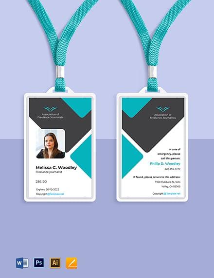 Freelance Journalist ID Card Template