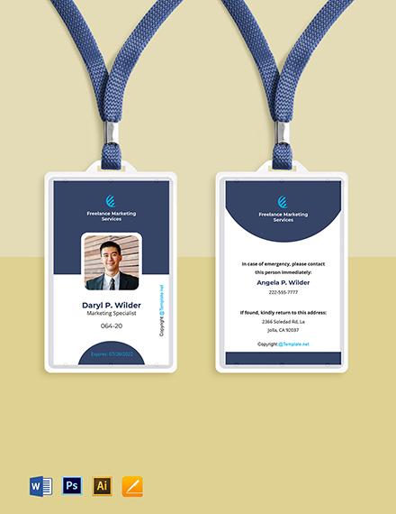Free Elegant Freelancer ID Card Template