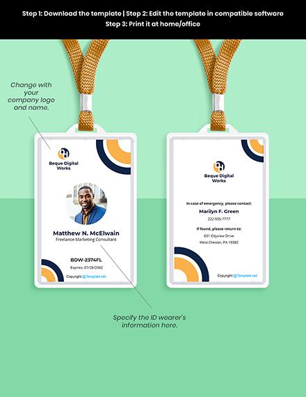 Free Modern Freelancer ID Card Template Format