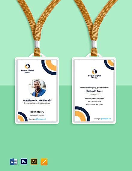 Free Modern Freelancer ID Card Template