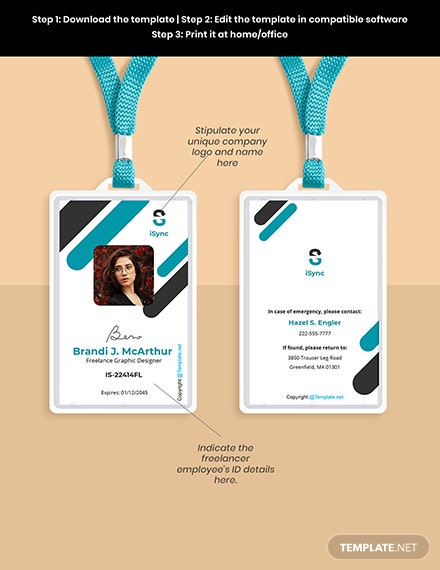 Free Simple Freelance ID Card Template Format