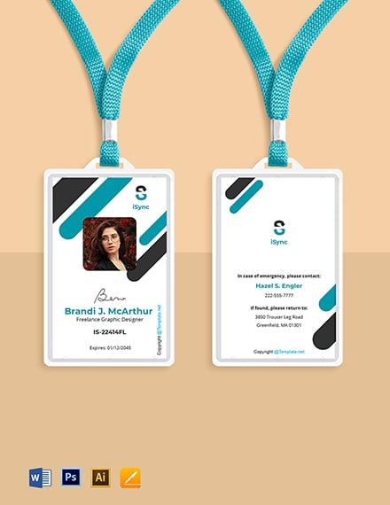 Free Simple Freelance ID Card Template