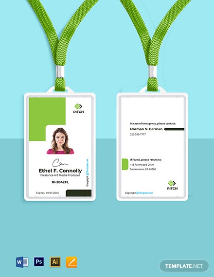 Free Sample Freelance ID Card Template