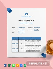 Work From Home Productivity Log Template