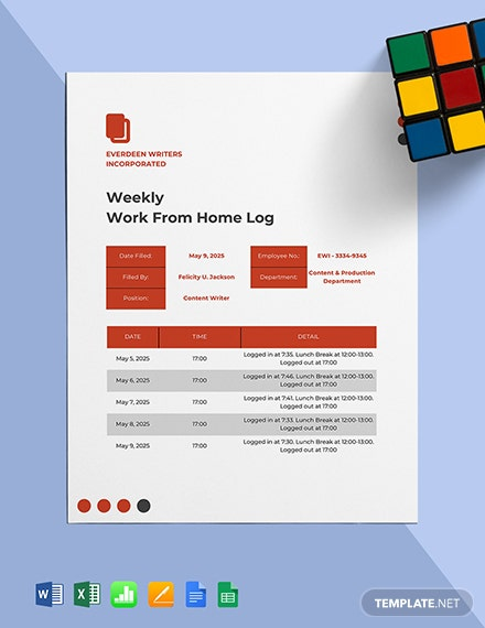 Weekly Work From Home Log Template