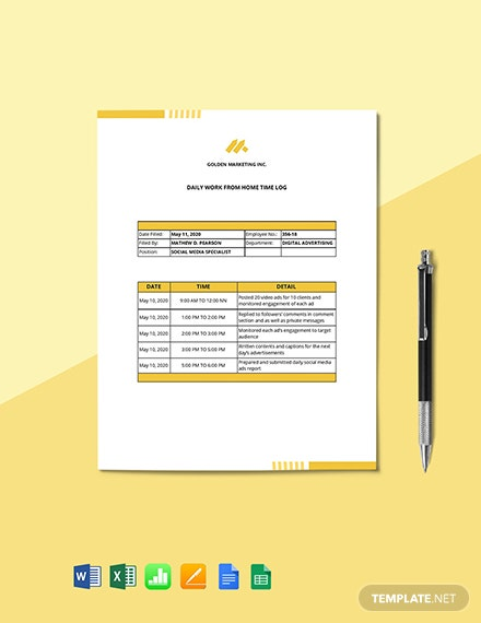 Work From Home Time Log Template
