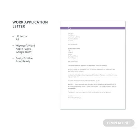 Free Work Application Letter Template