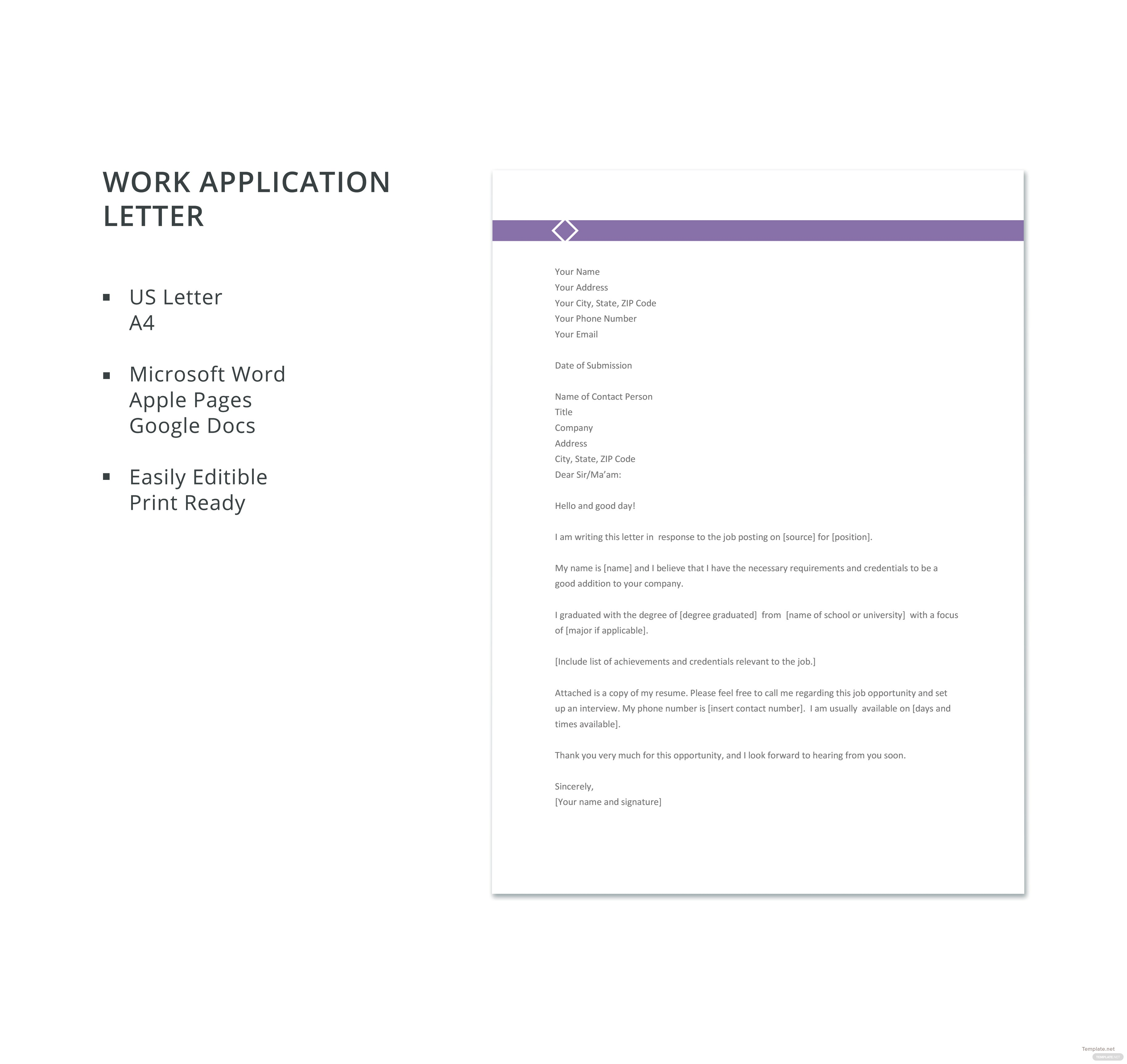 Free Work Application Letter Template in Microsoft Word, Apple Pages ...