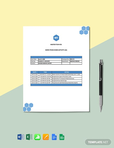Work From Home Activity Log Template