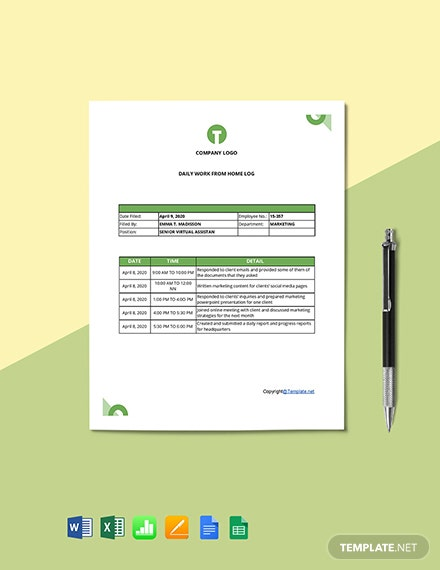 Free Daily Work From Home Log Template