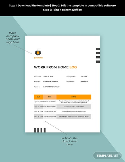 Work From Home Log Form Template Format