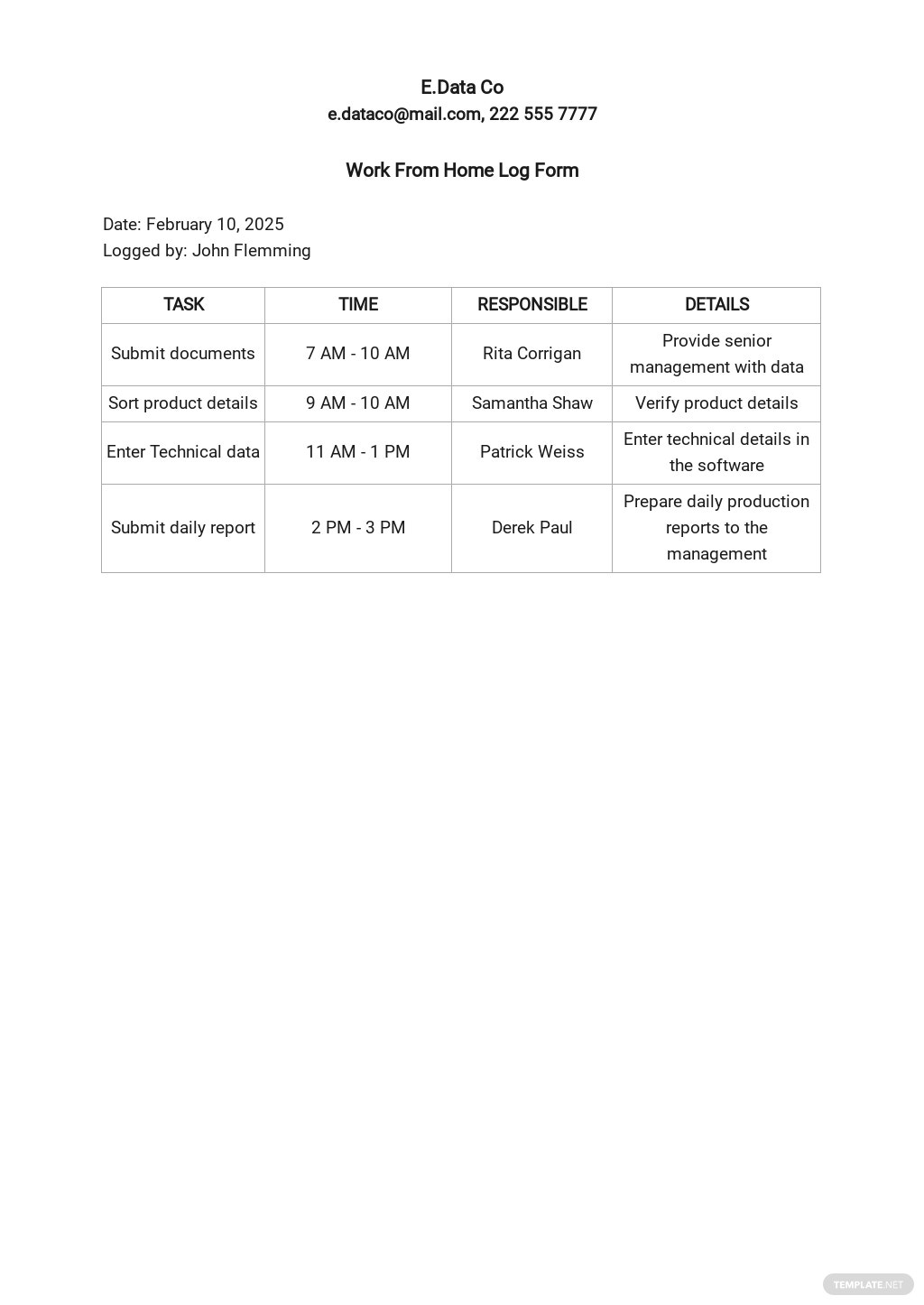 Work From Home Log Form Template.jpe