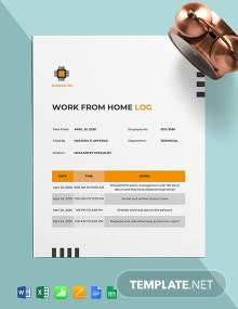 Work From Home Log Form Template