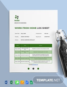 Free Sample Work From Home Log Sheet Template