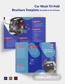Car Wash Service Tri-Fold Brochure Template