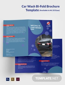 Car Wash Service Bi-Fold Brochure Template
