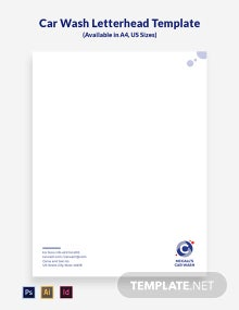 Car Wash Service Letterhead Template
