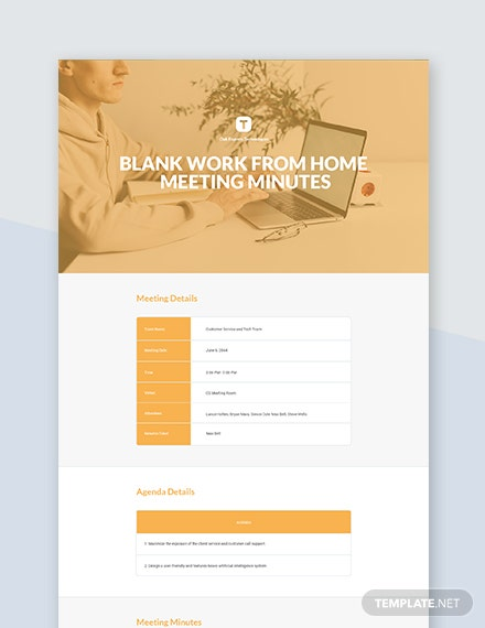 Free Blank Work From Home Meeting Minutes Template