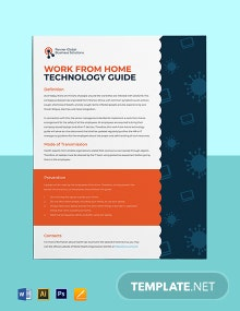 Work From Home Technology Guide Sheet Template