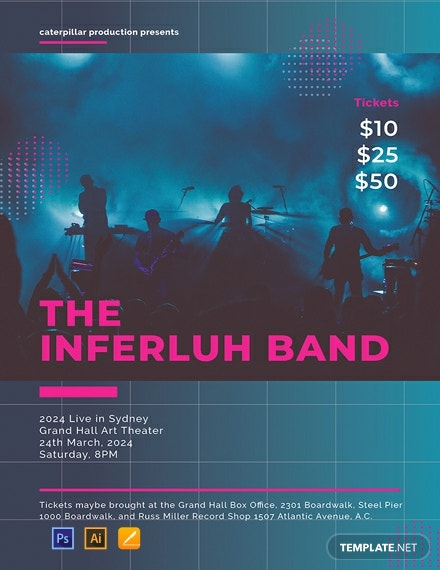 Free Band Concert Poster Template