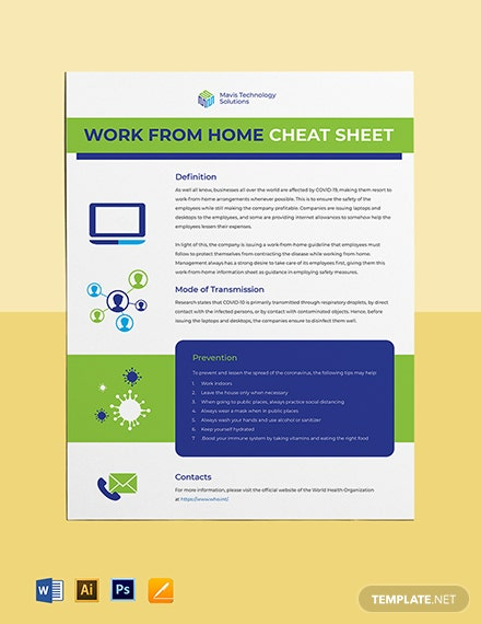Work From Home Cheat Sheet Template
