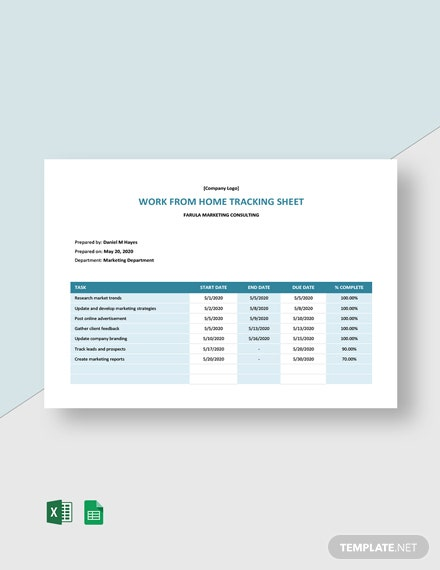 Work From Home Tracking Sheet Template