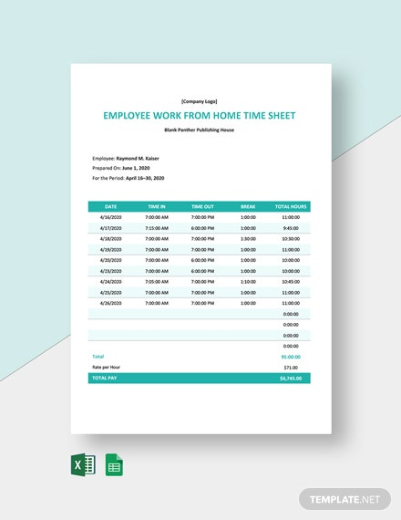 Employee Work From Home Timesheet Template