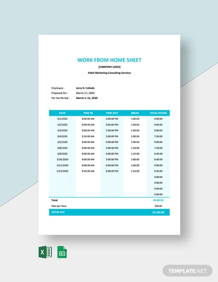 Work From Home Timesheet Template