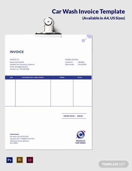 Mobile Car Wash Invoice Template
