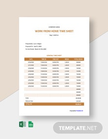 Free Sample Work From Home Timesheet Template