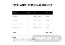 Freelance Personal Budget Template