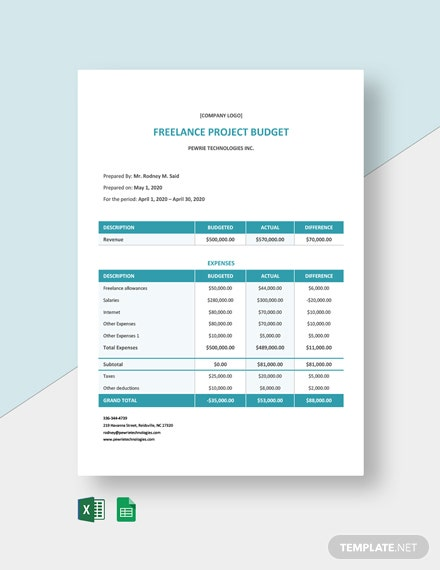 Freelance Project Budget Template