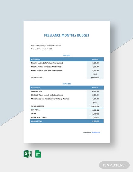 Free Monthly Freelance Budget Template