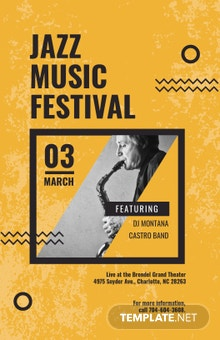 Free Jazz Music Concert Poster Template